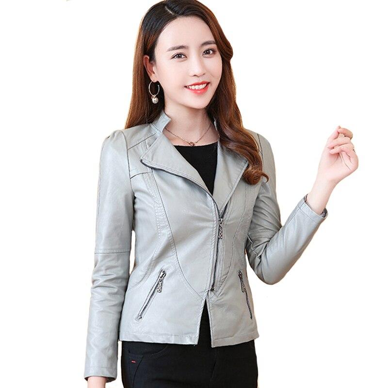 Women Faux   Leather   Jacket Asymmetric Zipper Korean Style Female Sweet   Leather   Coat Outwear Slim Womens Coat