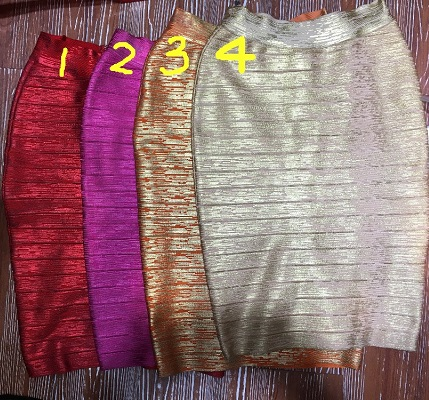 4 Colors Top Quality Celebrity Gold Print Red Pink Orange Gold Knee Length Rayon Bandage font
