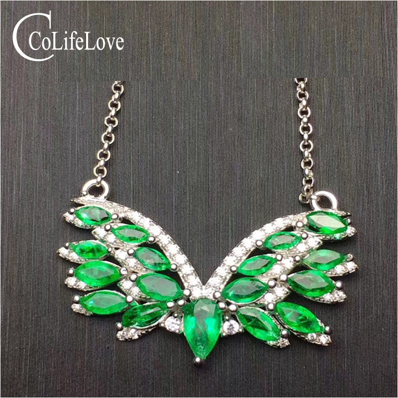 Fashion silver Wing pendant with emerald 17 pcs natural emerald pendant for party solid 925 silver emerald jewelry for woman fashion silver wing pendant with emerald 17 pcs natural emerald pendant for party solid 925 silver emerald jewelry for woman