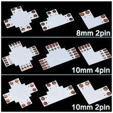 LED Strip Connector PCB Plate Board 5P 4P 2P 12MM 10MM 8MM L T X Shaped for RGBW RGB 5050 3528 LED Strip Lights