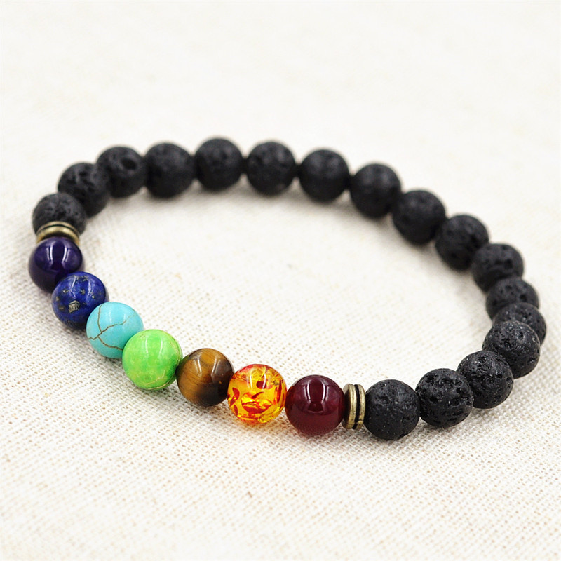 Muti Color Cool Man Lava Rock Beaded Stretch Bracelets Mala 7 Chakra Healing Balance Beads Rhinestone Reiki Prayer Stones In Charm From Jewelry