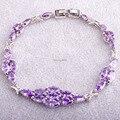 Luxuriant Gorgeous Marquise Cut Amethyst  Silver Bracelets Women Unique Design Fashion Purple Jewelry Wholesale