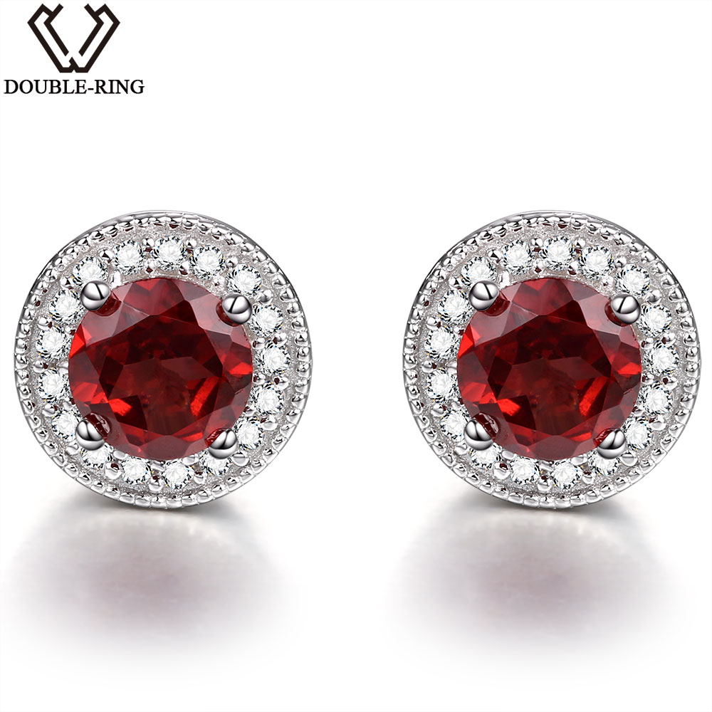 Double R Garnet stud Earrings natural Ruby Gemstone 925 Sterling Silver January Birthstone Hypoallergenic For Noble