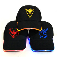 GT Lite New LED Light Pokemon Go Cap Hat Team Valor Team Instinct Pokemon Cap Hat