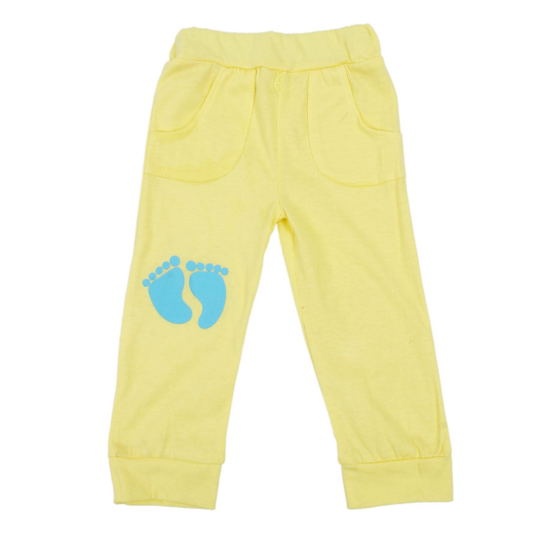 HOT SALE High Quality 100% Cotton baby clothing set,Toddlers children set,baby boys girls 2 pcs Footprints ,Hot sale-Yellow,90