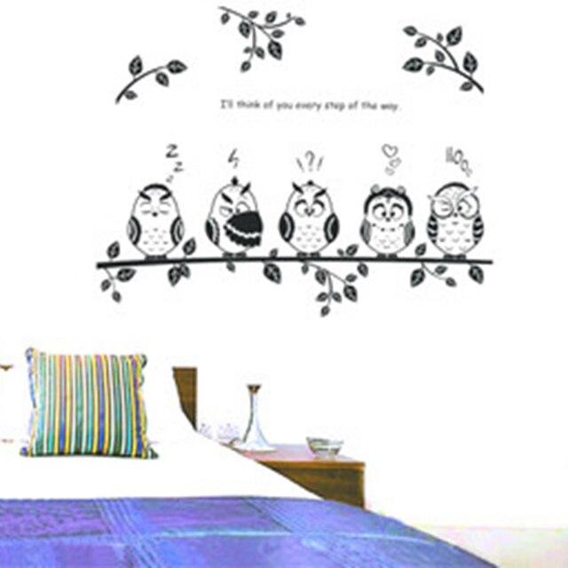 4 hiboux sur l'arbre décoration enfant autocollant de mur de ... - Decoration Stickers Muraux Adhesif