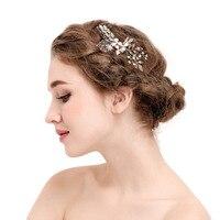 Hot Sale Bridal Wedding Flower Leaf Crystal Rhinestones Women Hair Clip Comb Diamante Wedding Hair Jewelry