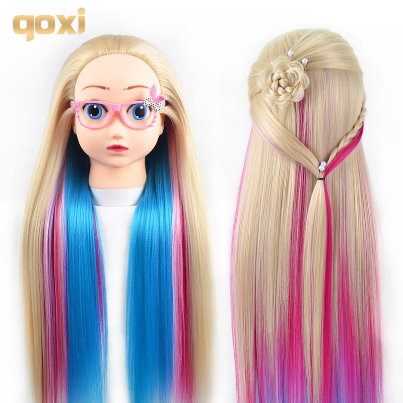 Qoxi Professional cartoon training heads with long thick hairs practice Hairdressing mannequin dolls Styling maniqui for