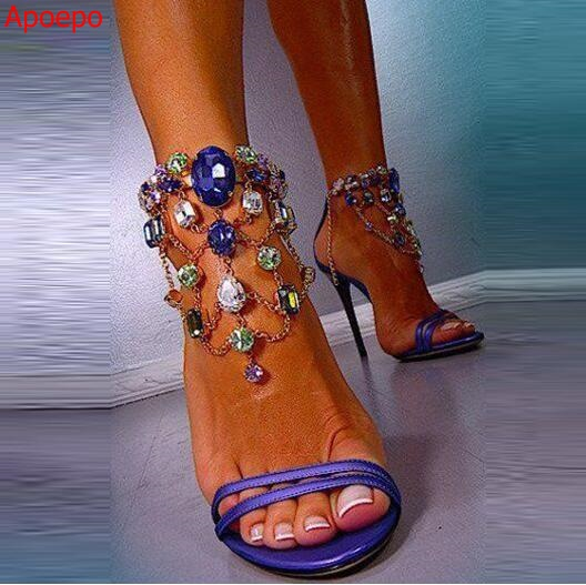 Real Photo Hot Selling Deep Blue Petent Leather Crystal Embellished Sandals Cut-out Colorful Diamond Ankle Strap Sandals Summer hot selling crystal summer dress shoes black pink beige suede leather ankle strap cut out sandals high heel t bar real photo