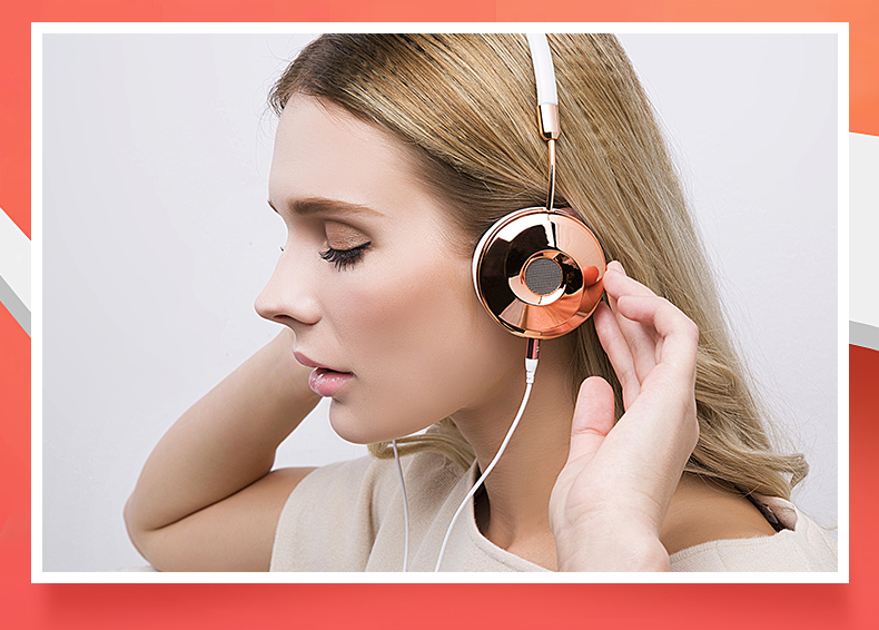 Liboer Headphones Wired On-ear Stereo Headphones for Mobile Phone Best Foldable Headset High Quality Rose Gold Headphone _06