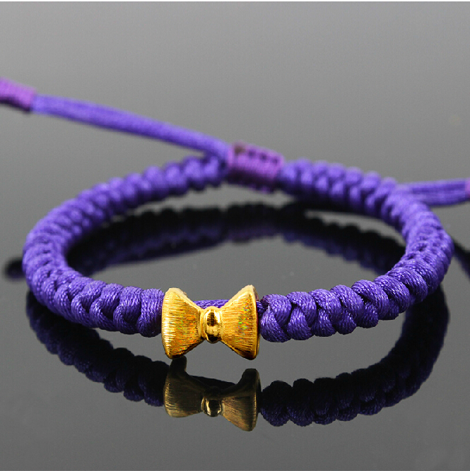Pure Hand woven String 999 3D 24K Yellow gold Bow Bracelet все цены