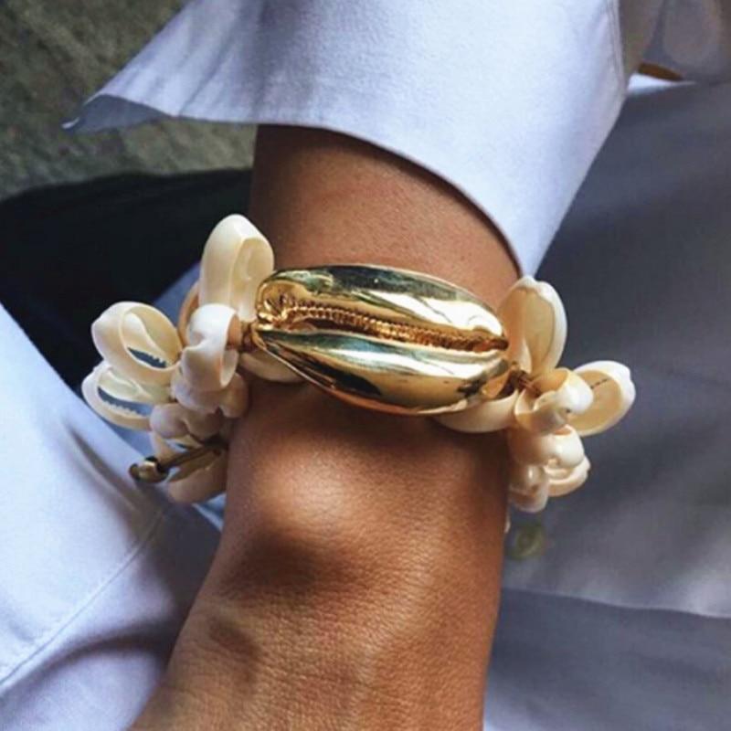 Boho pulseira feminina NATURAL big puka shell COWRIE PULSEIRA pulseiras para as mulheres presente bijoux jóias bohemian pulseiras bangles