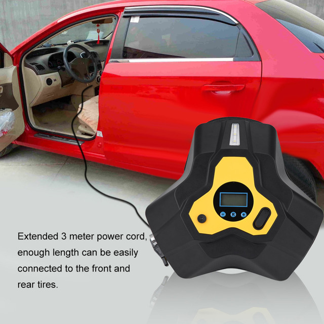 VGEBY Oversea 12V 120W Portable Tire Inflator Digital Air Compressor Pump W/