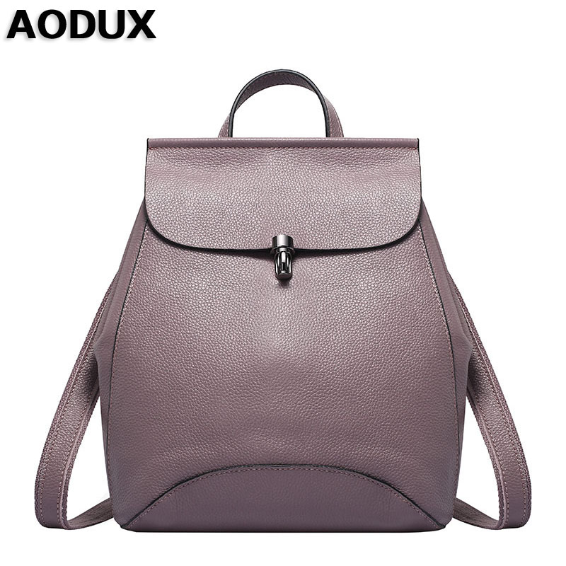 AODUX Women s Soft Genuine Cow Leather Backpack Female Designers Real Leather Ladies Backpacks Cowhide Woman