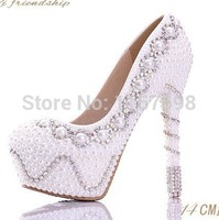 Colorful rhinestone bridal shoes white pearl wedding shoes ultra high heels platform shoes diamond women's wedding dress single