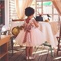 2017 Más Nuevas Muchachas Visten Los Niños Sin Mangas de Lentejuelas Arco Vestido de Encaje Para Las Niñas Partido de La Princesa de Tul Vestidos de Ropa de Los Cabritos