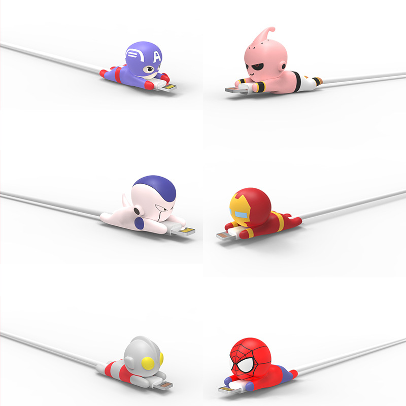 Superhero Cable Accessory Cable Animal Bites Cartoon USB Charger Data Cable Cord Protector For Iphone 8 7 6 USB Cable Protection