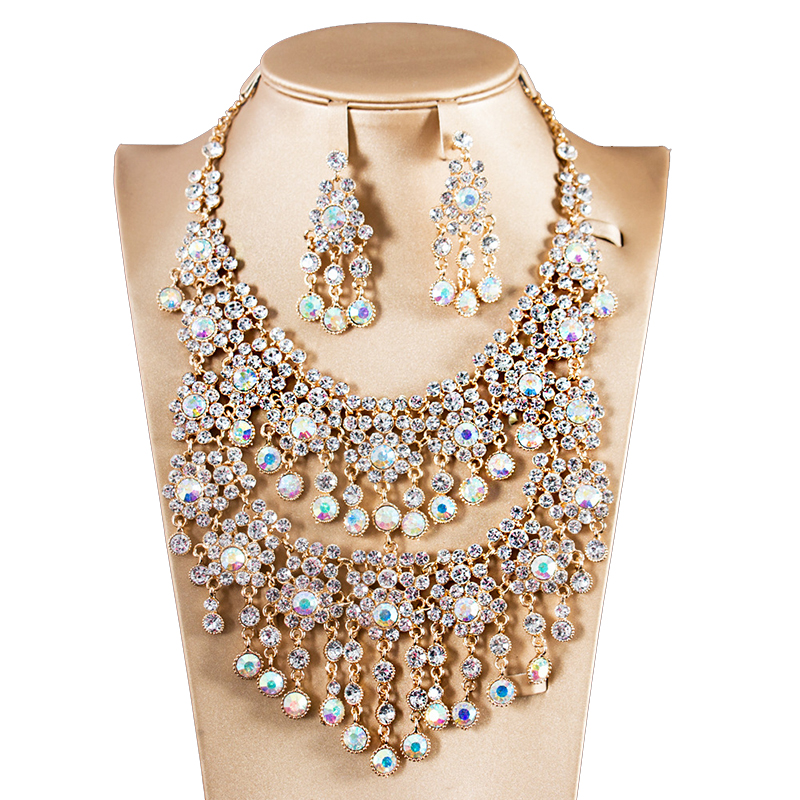 Bridal Jewelry Sets Crystal Rhinestone Flower Wedding Necklace and Earrings Sets For Women Trendy Party Jewelry Sets Accessories attractive rhinestone embellished necklace and a pair of earrings for women