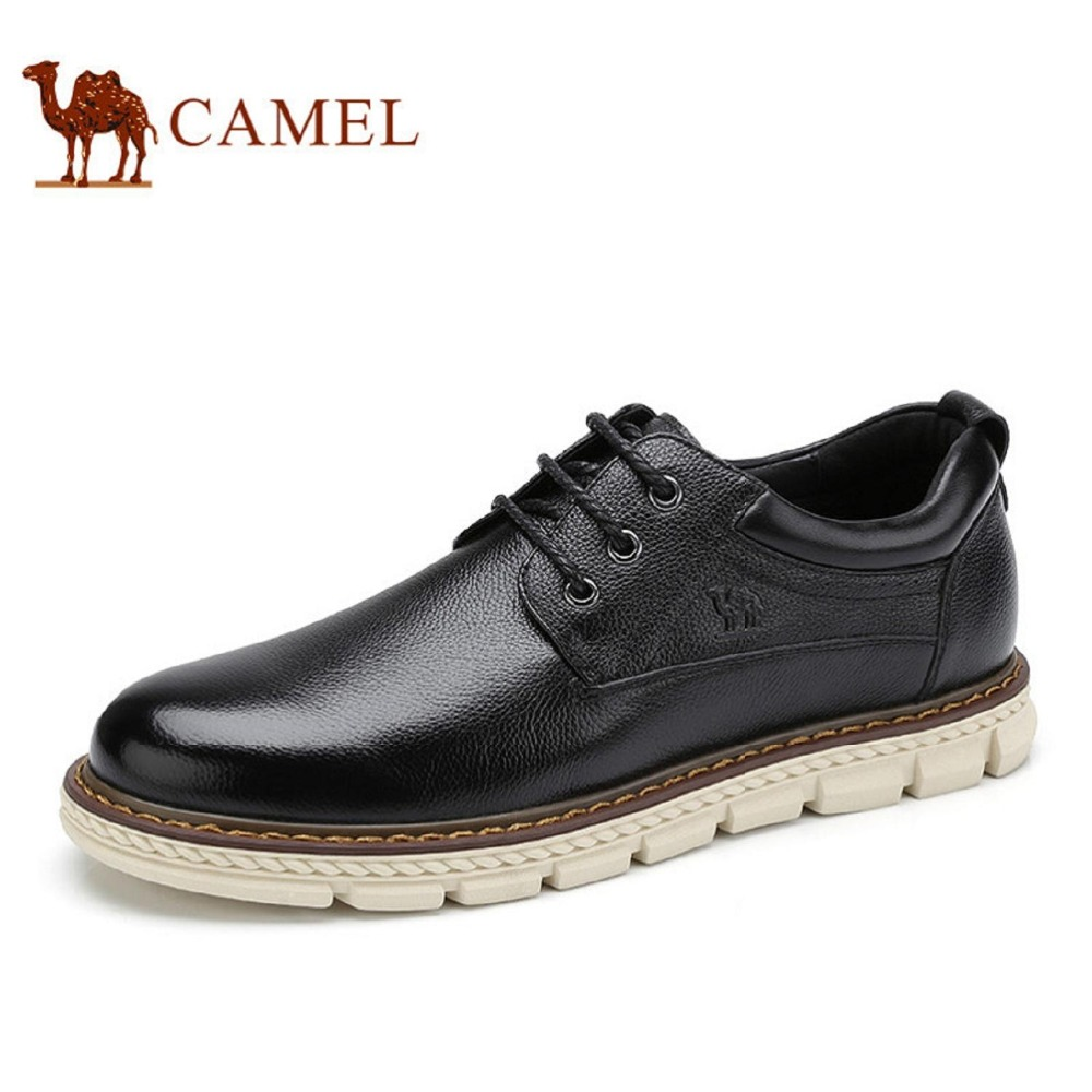 Camel Men's 2017 New Daily Casual Cow Leather Low Heel Fashion Comfortable Driving Lace Shoes Cushioning Antiskid A732266170