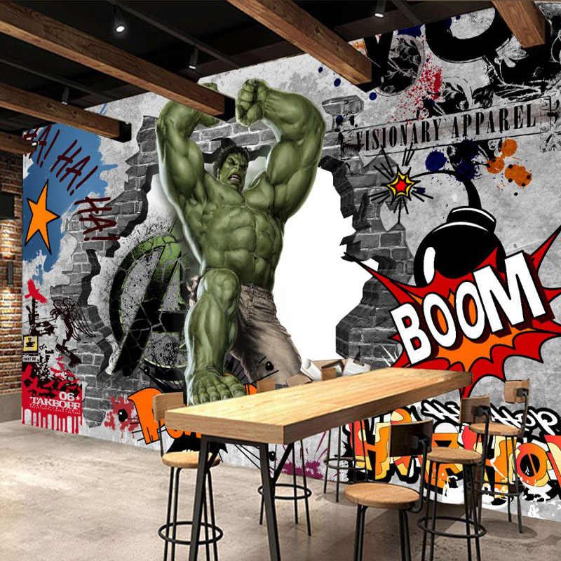 Avengers Hulk Foto Wallpaper Kustom 3D Wallpaper Mural Dinding Grafiti Anak-anak Kamar Tidur Kantor TV Latar Belakang Super hero Room decor
