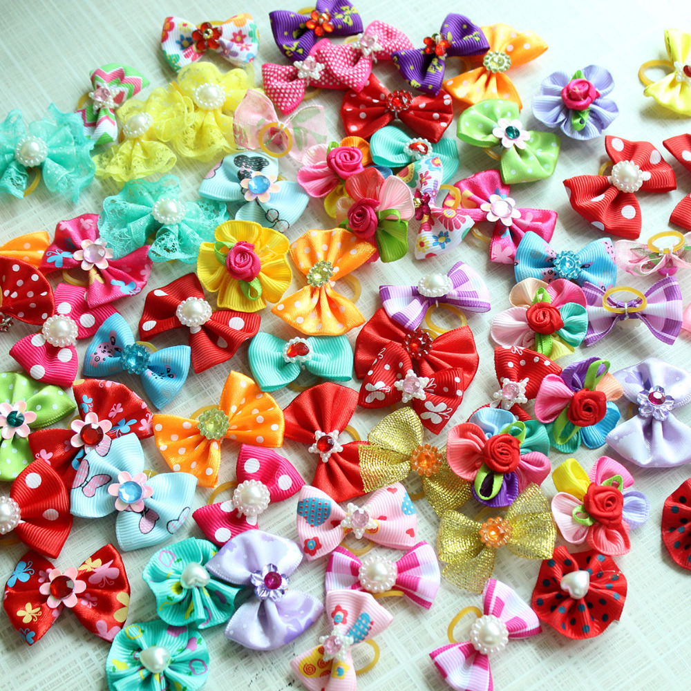 20/50/100pcs/set Dog Hair Flower Pet Dog Hair Bows Pet Rhinestone Pearls Accessories Dog Hair Elastic Bands Cat Decoration Bows