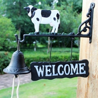 European Country Style Black White Hand Painted Cow Design Garden Decor Wall Mounted Welcome Signs Plate with Hand Cranking Bell
