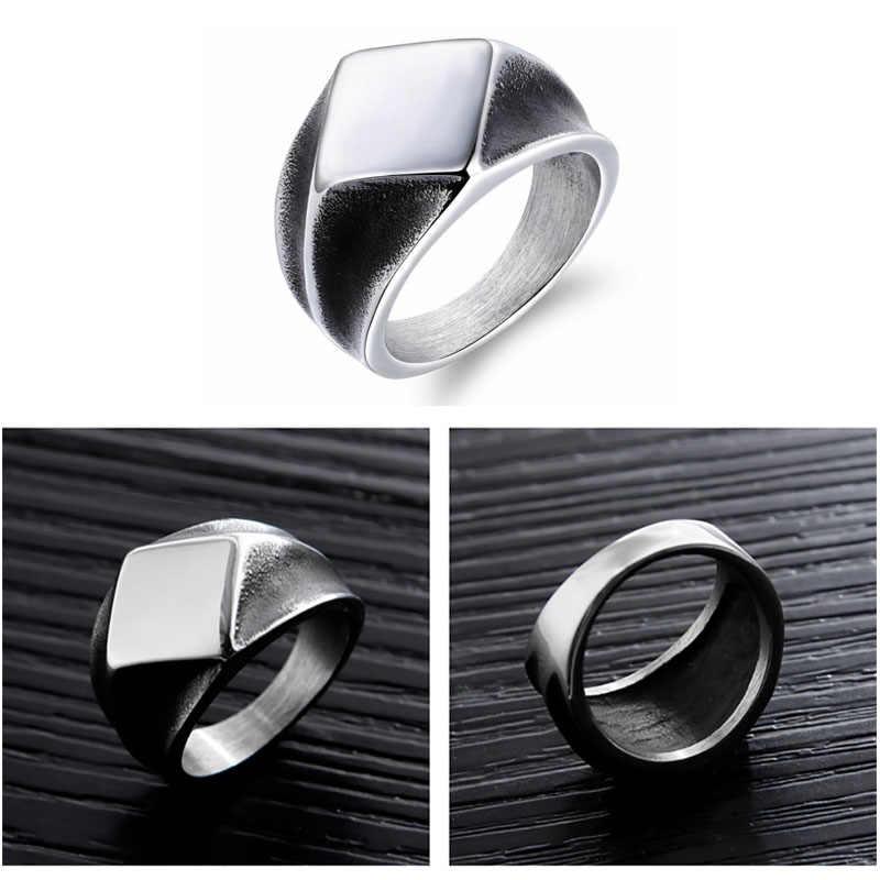 Jiayiqi 2019 ใหม่แหวนผู้ชาย Retro เรขาคณิตสไตล์ Punk แหวนเครื่องประดับชาย Unisex เงินแหวนทองสีดำทอง