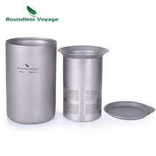 Boundless Voyage 350ml Titanium Double Layer Tea Cup with Filter Cover Outdoor Camping Mug Set for Traveling Home use
