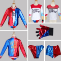 Suicide Squad Harley Quinn Costume Adult Cosplay COS Jacket Shorts Gloves T-shirt Full Set for Women High Quality