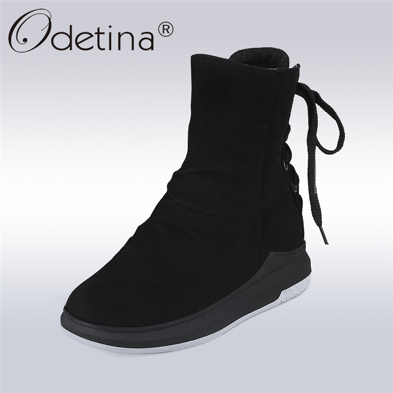 Odetina 2017 Fashion Lace Up Snow Boots Fur High Top Winter Ankle Boots Women Platform Bootie Side Zipper Warm Shoes Flat Heel winter new fashion shoes women boots ankle warm snow boots with fur zipper platform flat boots camouflage cotton shoes h422 35
