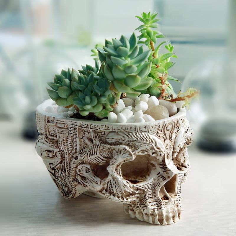 Hand gesneden schedel bloempot schedel bot kom huis tuin decor - Tuinbenodigdheden