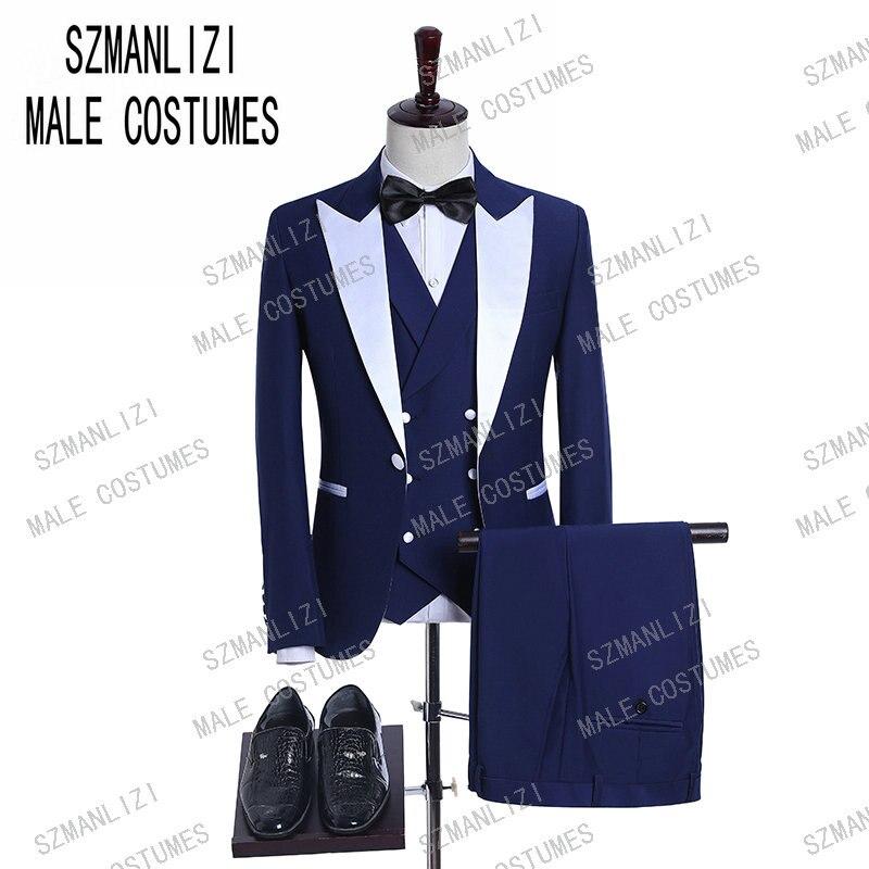 Blue Men Wedding Suits 2019 Double Breasted Vest Groomsmen White Peaked Lapel Groom Mens Tuxedo Wedding/Prom 3 Pieces Men Suits
