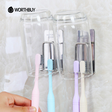 WORTHBUY Creative 304 Stainless Steel Toothbrush Holder Wall Suction Bathroom Accessories Set Mug Toothbrush Toothpaste Holder