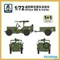 S-model 1/72 PS720046 Willys MB & trailer plastic model kit