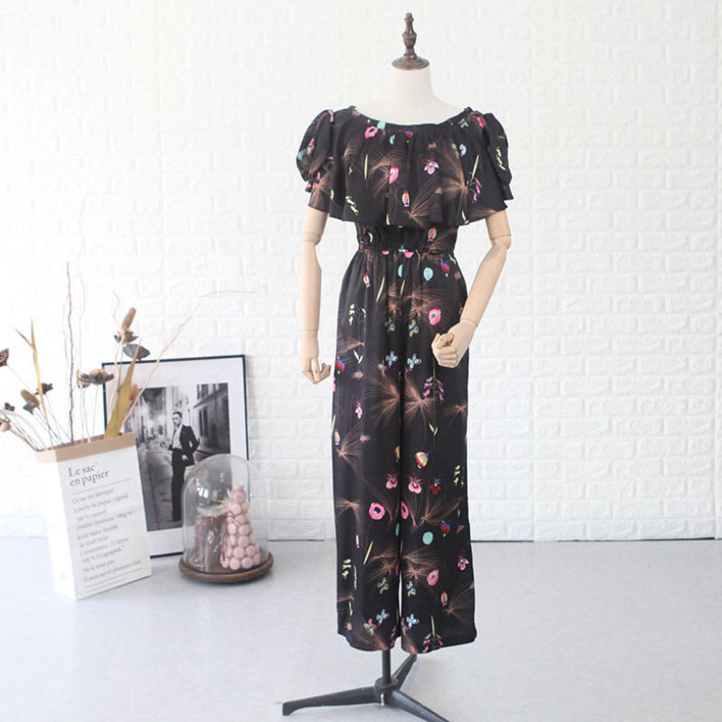 2019 New Designer Spring Summer Women 39 s Jumpsuit Print Hood Black High Waist Loose Word Collar Piece Beach Ladies Casual Rompers in Jumpsuits from Women 39 s Clothing