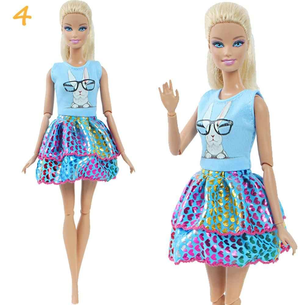1 Bộ Thời Trang Nhiều Màu Trang Phục Sóng Điểm Đầm Áo Sơ Mi Denim LƯỚI VÁY Hàng Ngày Đeo Phụ Kiện Quần Áo Cho Búp Bê Barbie