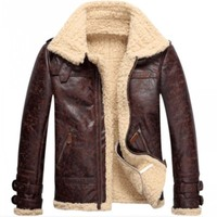 Высокое качество Новый бренд Модные мужские Винтаж кожа ягненка меха руно куртка бомбер Flight пальто мужской зима теплая Меховая подкладка п