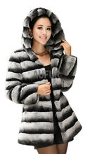 Genuine Rex Rabbit Fur Overcoat Stripe Imitation Chinchilla Womens Real Fur Coat with Hoody Winter Hooded Parka AU00429