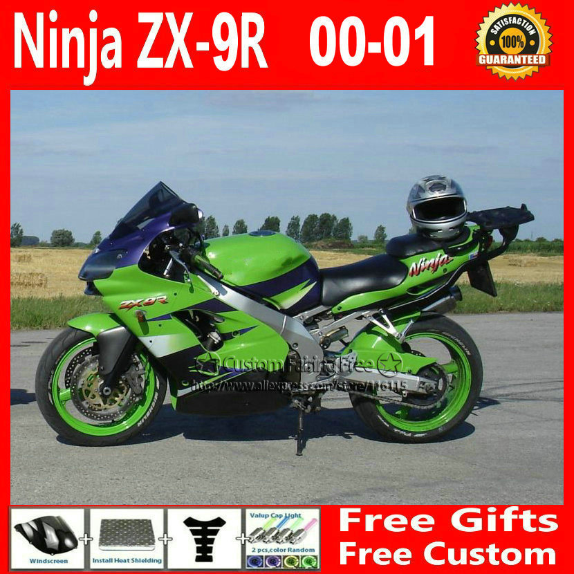 Compression mold bodykit for Kawasaki classic green fairing kits ZX9R 2000 2001 ZX 9R 00 01 Ninja customize body parts+7Gifts compression mold bodykit for kawasaki fairing kits zx9r 2000 2001 zx 9r 00 01 ninja customize green purple body parts 7gifts