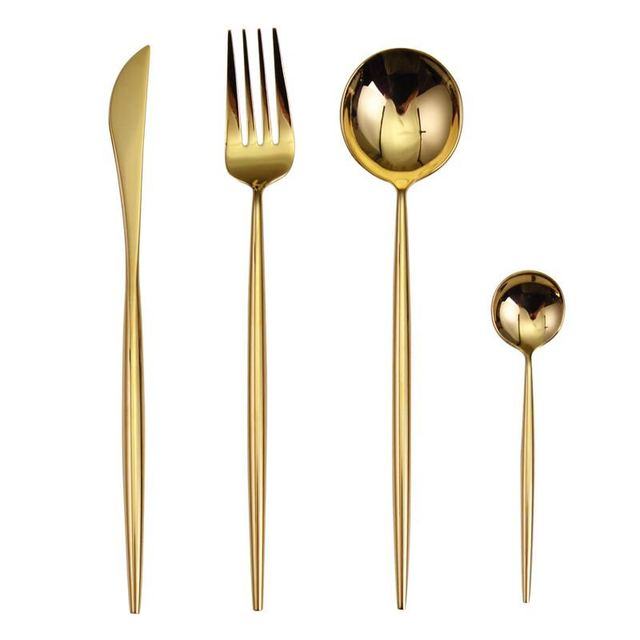 Stainless Steel Flatware Shiny Gold Set