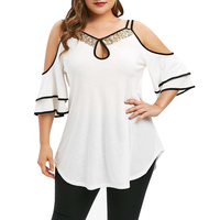 ROSE GAL Plus Size Women Summer T shirts 5XL Open Cold Shoulder Tunic Top Female Shirts Blusas Keyhole Strap Sequins T shirt