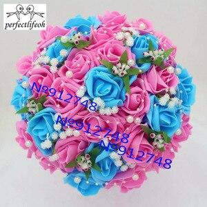 Image 5 - Perfectlifeoh düğün buket El Yapımı Çiçekler Dekoratif Yapay Gül Çiçek Inciler Gelin Gelin Aksan Düğün Buketleri