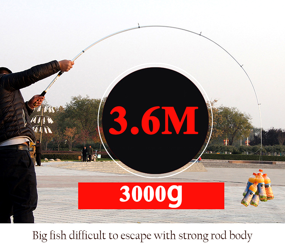 Carp Fishing, Rod feeder Hard FRP Carbon Fiber Telescopic Fishing Rod fishing pole 2.1M -3.6M 15