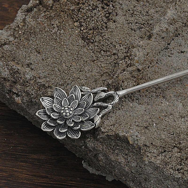 Kwiat lotosu do włosów 925 Sterling Silver biżuteria kobiety w stylu Vintage spinka do włosów chiński, ręcznie robione, etniczne, szpilki do włosów chiny Express powietrza