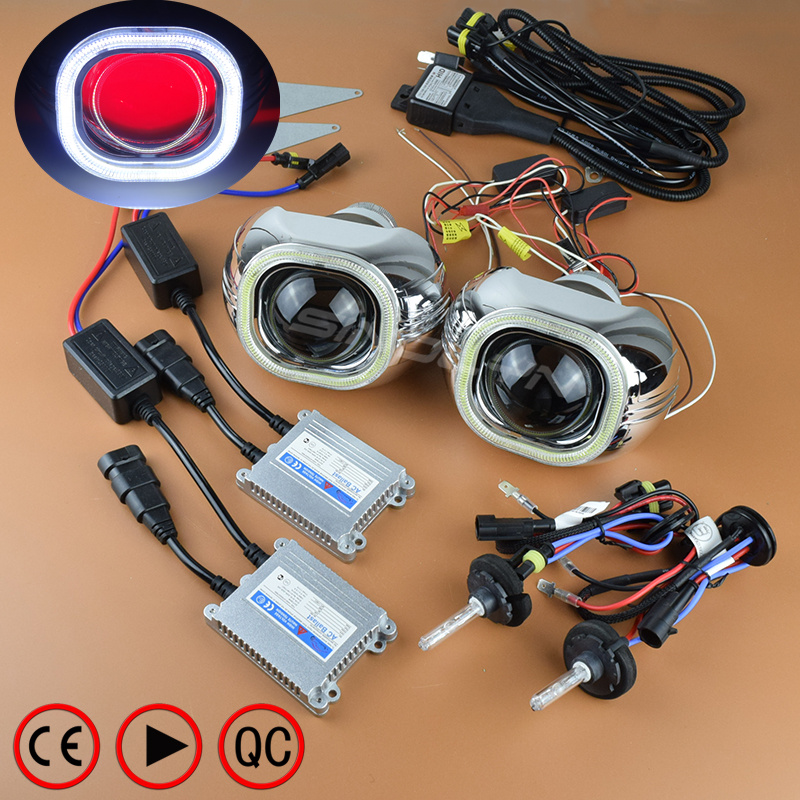 SINOLYN 3.0 inches H4 Q5 Bixenon HID Projector Square COB LED Angel Eyes Lens Headlight Kit With/Without Devil Eyes Car Styling 3 0 inch kioto q5 h4 bixenon lens style projector lens car headlight with angel eyes halo ring
