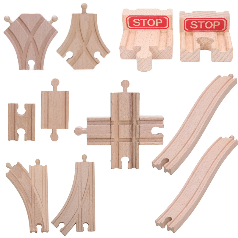 Friends 4.2inch 2pcs/set Wooden Train Track Accessories Cross Tracks Educational Blocks Toys Railway Accessories Bloques