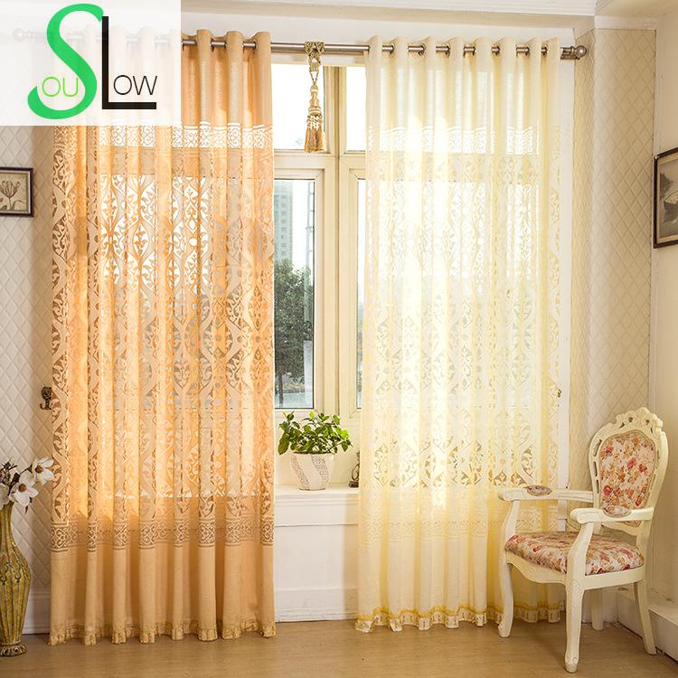 Slow Soul Yellow Jacquard Curtains Hollow Curtain Pleated ...