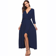 e9e588e41eb5 Sexy V Neck Side Slit Women Dress 3/4 Sleeve Maxi Burgundy Vestidos Ruched  Fit and Flare Plus Size XL-4XL Spring Dresses 2018