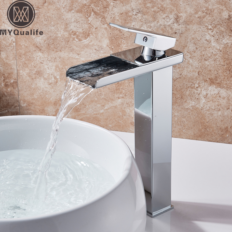 Chrome Bathroom Mixer Faucet Deck Mounted Brass Basin Faucet Waterfall Lavatory Sink Mixer Tap Deck Mounted Hot Cold Water Tap waterfall basin faucet chrome single handle brass basin mixer tap bathroom deck mounted vessel sink hot cold water tap mixer