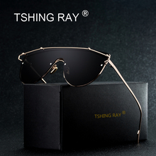 TSHING RAY Flat Top Rimless Sunglasses Women Men Fashion Brand Designer Unique One Piece Clear Lens Metal Glasses Frame For Lady